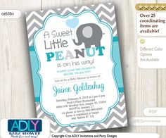 Turquoise Grey Elephant Invitation for Boy by aoprintablesforkids