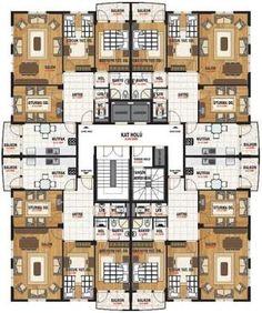 katta 4 daire planı ile ilgili görsel sonucu visual result of the plan of 4 apartments on the first floor Modern Architecture House, Architecture Plan, Residential Architecture, Architecture Details, Luxury House Plans, Modern House Plans, House Floor Plans, Residential Building Plan, Building Plans