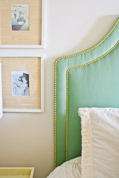 6th Street Design School: One Week Room Design Bedroom Reveal  Upholstered Green Headboard with Gold Nailhead