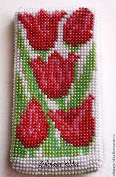"""Для телефонов ручной работы. Ярмарка Мастеров - ручная работа Чехол для телефона """" Тюльпаны"""". Handmade."""