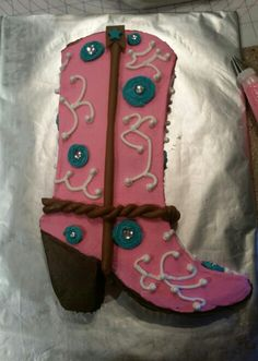 Cowgirl Boot Birthday Cake