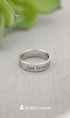 Be sure to slow down and take in the moment when you wear this sweet and simple sterling silver ring stamped with a calming message. No matter what happens, just remember: breathe.