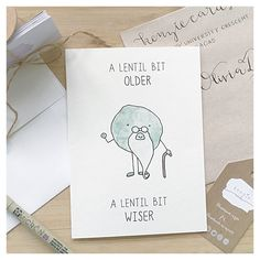 Veggie Birthday Card // lentil birthday, card for vegetarian, vegetable pun, food pun card, punny birthday cards, punny, pun, punny card by kenziecardco on Etsy https://www.etsy.com/listing/270932670/veggie-birthday-card-lentil-birthday