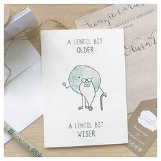 Veggie Birthday Card // lentil birthday, card for vegetarian, vegetable pun, food pun card, punny birthday cards, punny, pun, punny card by kenziecardco on Etsy https://www.etsy.com/listing/270932670/veggie-birthday-card-lentil-birthday