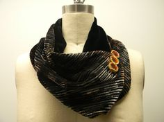 Reversible Silk Velvet Earth Tones Infinity ScarfNeck by Olimpias