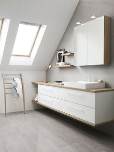 Dansani Calidris Waschtischplatten mit Aufsatzbecken Dansani Calidris vanity tops with counter top b Sloped Ceiling Bathroom, Loft Bathroom, Ensuite Bathrooms, Grey Bathrooms, Bathroom Shelves, Bathroom Renovations, Bad Inspiration, Bathroom Inspiration, Classy Living Room