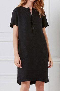 Round Neck Short Sleeve Plain Casual Dress #Sleeve, #Aff, #Short, #Neck, #Dress #Adver