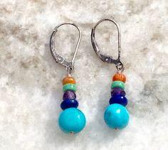Turquoise Earrings,Multistone Earrings,Vintage Silver Earrings,Turquoise Dangle Earrings,Coral Earrings,Leverback Earrings,Gemstone Earring by MasalaJewelry on Etsy