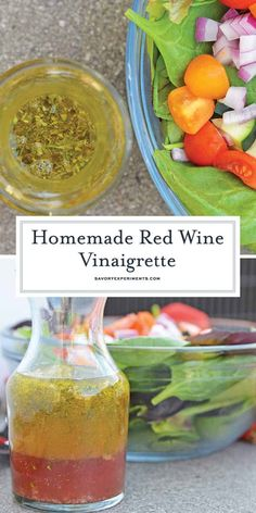 This Red Wine Vinaigrette is a deliciously easy homemade salad dressing recipe, … This red wine vinaigrette is a deliciously simple homemade salad dressing recipe that takes only a fraction of the time you need to chop a salad! Red Wine Vinegar Salad Dressing Recipe, Vinagrette Dressing Recipe, Red Wine Vinegarette, Red Wine Vinegar Recipes, Salad Dressing Recipes, Salad Dressings, Cilantro Dressing, Lemon Vinaigrette, Salad Recipes