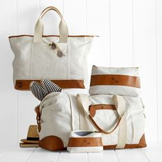 Canvas with Leather Cosmetic Bags   Mark and Graham http://www.markandgraham.com