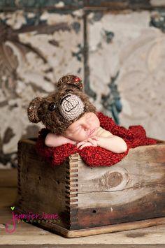 Bear Hat with or without ladybug Newborn thru 6 by YarningToBe