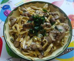 Pasta mit Champignons und Blauschimmelkäse