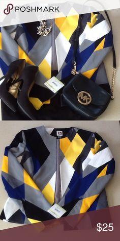 NWT Anne Klein color block jacket❤️ Beautiful color block jacket NWT Anne Klein❤️colors are blue,grey, yellow, mustard, black and white. Anne Klein Jackets & Coats Blazers