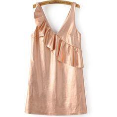 Rose Gold Ruffle V Neck Sleeveless Dress ($34) ❤ liked on Polyvore featuring dresses, vestidos, v-neck dresses, flounce dress, ruffle dress, flouncy dress and v neck summer dresses