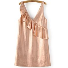 Rose Gold Ruffle V Neck Sleeveless Dress (36 CAD) ❤ liked on Polyvore featuring dresses, v neck dress, flutter-sleeve dress, v-neck dresses, flouncy dress and rose gold dress