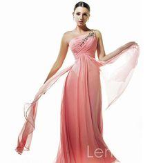 one strap column chiffon with applique evening dress. $176.00, via Etsy.