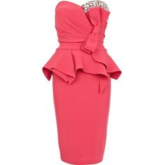 River Island Pink Forever Unique gem bow peplum dress