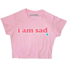 I Am Sad 90s Crop Top Crybaby Kawaii Grunge Pastel Pink Blue Yellow... ($18) ❤ liked on Polyvore featuring tops, thermal top, cut-out crop tops, patterned tops, print crop tops and yellow top