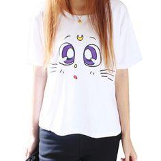 Kawaii Summer Fashion Sailor Moon Luna Kitty Short Sleeve T-Shirt www.OtakuForest.com