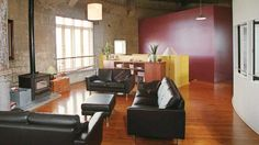 Living room in a converted water tower (for more examples, click through).