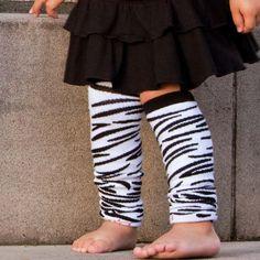 Little girl wearing BabyLegs Zappy Zebra Legwarmers.