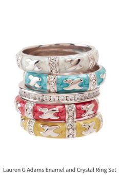 Lauren G Adams Set Of 5 Stacked Pearlized Enamel Rings Hard To Find These