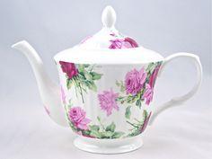 Fine Bone China Teapot - Pink and Red Rose Swirl Chintz - Gracie Fine Bone China