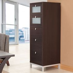 Home Office Vertical Five Drawer Storage Cabinet Media Furniture Organizer  New #FurnitureofAmerica #Modern #