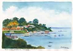 """Point King, Sorrento on Port Phillip, Victoria.  Where the beautiful people hang out.  Watercolour painting by Dai Wynn on 300 gsm """"medium"""" Arches cotton paper.  21cm X 29cm (8.25"""" X 11.75"""") approximately.  SOLD"""