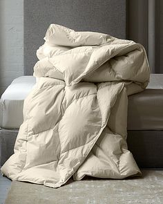 Eileen Fisher Organic All Seasons Down Comforter; Like the pillows as no icky chemical smell, but would prefer white fabric on comforter so it doesn't look grey when I put a white duvet cover over it. Utility Bed, Bedding Inspiration, Living Room Lounge, White Duvet Covers, Down Comforter, Bedding Basics, White Fabrics, Home Bedroom, Home Collections