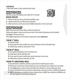 Yahtzee Score Sheets Free Printable  Blank Yahtzee Score Sheet