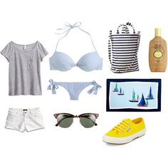 A fashion look from March 2015 featuring H&M t-shirts, J.Crew bikinis and H&M shorts. Browse and shop related looks.