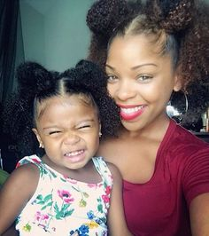 There's nothing like a Mommy and her mini! #mommyandme #mommyandmini #curlygirls #teamnatural #melaninpoppin #matching #curlyfro #puffballs #prettybrowngirls #blackgirlmagic @ashleighshalay