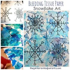 Bleeding tissue paper snowflake art - winter arts and crafts projects for kids - beautiful process art for Christmas - painting with tissue Crafting an ins Christmas Art Projects, Winter Art Projects, Winter Crafts For Kids, Christmas Paintings, Craft Projects For Kids, Arts And Crafts Projects, Art For Kids, Preschool Winter, Tissue Paper Trees