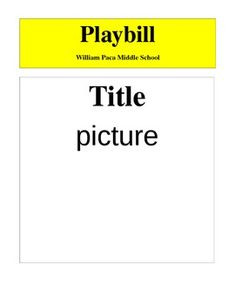 Blank sample of exactly what a playbill should look like. After students complete their playbill outline (sold separately) they can use this to create their actual playbill. Broadway Theme, Beauty And The Beast Party, Christmas Program, School Play, Dance Recital, Program Template, Good Grades, Art Party, Sixth Grade