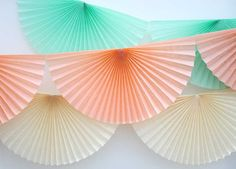 Tissue paper pinwheels garland.  Fan bunting.  by thepartydialect