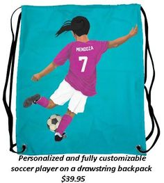 Drawstring bag that can be personalized with an image of your child/grandchild/niece/nephew playing their favorite sport!