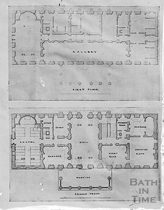 Plan of Prior Park, Bath, ground & 1st floors, original.