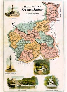 Map of Poland, 1907