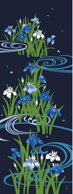 Japanese Tenugui Towel Cotton Fabric, Hand Dyed Fabric, Japanese Iris, Running water, Chic Botanical Floral Design, Modern Art Fabric, JapanLovelyCrafts