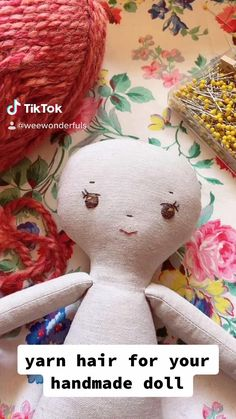 Fabric Doll Pattern, Doll Sewing Patterns, Sewing Dolls, Doll Patterns Free, Sewing Doll Clothes, Pattern Sewing, Yarn Dolls, Crochet Dolls, Diy Yarn Doll Hair