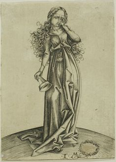 The Third Foolish Virgin, original by Martin Schongauer, copied by Israhel van Meckenem [though IvM was technically in the Rhineland area, his copies were so exact as to make this more representative of Schongauer's area, Alsace]