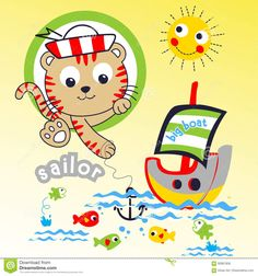 SAILOR CAT CARTOON - Download From Over 64 Million High Quality Stock Photos, Images, Vectors. Sign up for FREE today. Image: 92867858 Free Images For Blogs, Cartoon Download, Cats Musical, Baby Prints, Animal Design, Cartoon Drawings, Nursery Art, Kids And Parenting, Animals And Pets