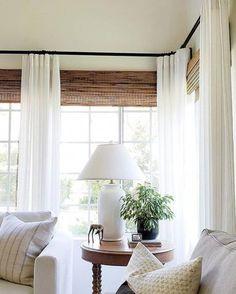 Curtains Living, Living Room Windows, My Living Room, Home And Living, Living Room Decor, Living Spaces, Sunroom Curtains, White Curtains, Window Drapes