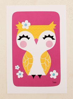 Mini Print  Giggle Owl by littlebeehive : so lovely