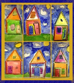 First grade students created Popsicle stick houses inspired by the shotgun style homes of New Orleans, Louisiana. Students used bright color tempera paint with a black sharpie finish!   Follow my classroom blog: ericksonartroom.weebly.com