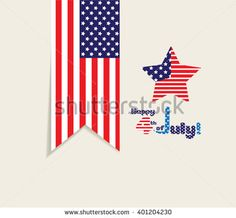American Flag for Independence Day label