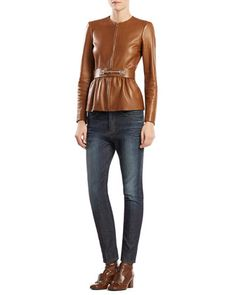 Belted Leather Jacket & Stretch Denim Boyfriend Pants by Gucci at Neiman Marcus.