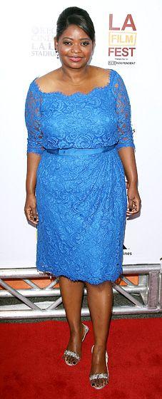 Octavia Spencer in Blue Lace Tadashi Shoji Dress @ Los Angeles Film Festival Premiere of Fruitvale Station: L.A. June 17, 2013
