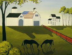 """American Country"" original art by folkartmama"